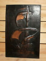 Vintage nautical hand made copper wall hanging plaque ship