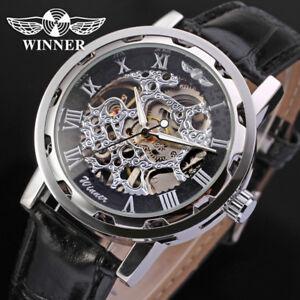 Winner Luxus Edelstahl Leder Skelettuhr Herrenuhr Mechanische Armbanduhr