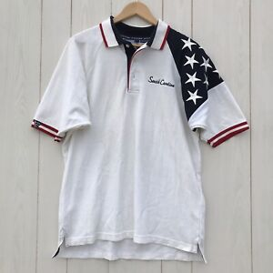 South Carolina USA Themed Support Troops Stars Flag Polo Shirt Men's Size Large