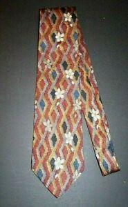 ERMENEGILDO ZEGNA Rust Neutral Gray White Floral Men's Silk Neck Tie Fine