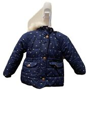 Carters Toddler Winter Coat Size 2T Navy Blue W. Hearts For Girls