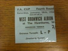 More details for 28/01/1956 ticket: west bromwich albion v portsmouth [fa cup] (very good conditi