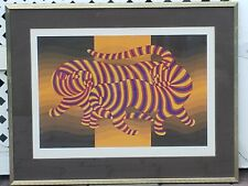 "Victor Vasarely ""Two Tigers"" Hand Signed Lithograph with COA"