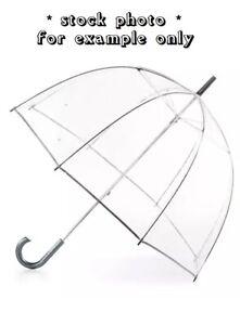 Vintage TOTES Stick Full-Size Bubble Umbrella CLEAR CANOPY Manual Open/Close