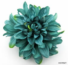 """4.5"""" Variegated Teal Blue Poly Silk Dahlia Flower Hair Clip,Pin Up,Updo,Hat"""