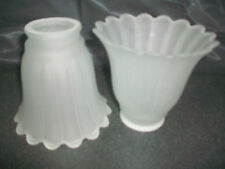 2 FROSTED SCALLOPED GLASS LAMP GLOBES SHADES LIGHTING REPLACEMENT CEILING FANS