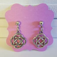 Celtic Irish Open Knot Antique Silver Post/Stud Earrings