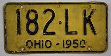 1950 Vintage Original OHIO License Plate Tag 182-LK - Aluminum Waffle