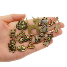 12 pcs Antiqued Bronze Metal Cats Charms Assorted Mix DIY Pendants Findings