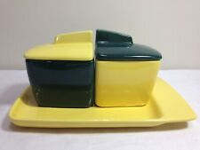 🔴⚫️⚪️ Franciscan Ware Yellow & Green Jam Jelly Jars Toast Condiment Plate Set