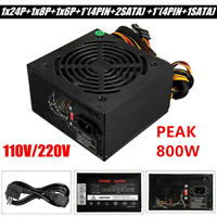800W Watt Power Supply PSU PFC Silent Fan ATX 24-PIN PC Computer Gaming 220V AU