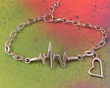 Silver EKG Nursing Charm Bracelet RN Cardiac Nurse Nurses Gift Heart USA Seller