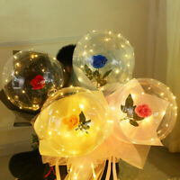 Luminous Led Light Balloon Rose Flower Bouquet Valentines Day Party Gift For Her
