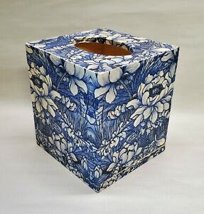 Handmade Wood Decoupage Tissue Box Cover, White and Blue Floral