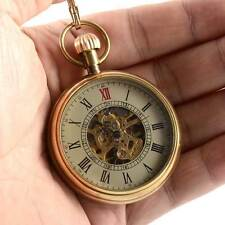 Vintage Open Face Mechanical Windup Pocket Watch Pocket Chain Gift Retro Roman