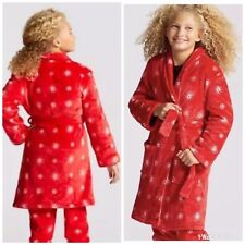 Cat   Jack Robe Girls Size 6 6X Small Plush Red Snowflake Christmas Holiday 7f0bc781f