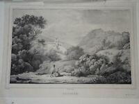 Achille MICHALLON (1796-1822) Litho PAYSAGE ARPINO LATIUM ITALIE FROSINONE 1820