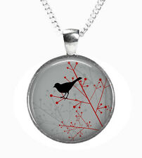 Black BIRD - Glass Picture Pendant on Chain – Silver Plated (Print Photo K16)