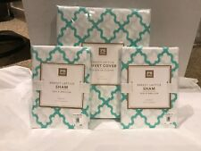 Pottery Barn Teen 100% Cotton Twin Size Breezy Lattice Duvet & 2 Standard Shams