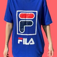 Vintage Fila T-shirt Blue Big Logo Graphic Tee Italy 90s 00s Mens Size Medium