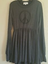 NWT WILDFOX COUTURE $187  Peace Baby Doll Dress In Dirty Black SZ M