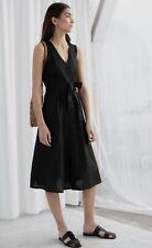 & Other Stories Black Linen Blend Sleeveless Belted Midi Tank Dress Size 2