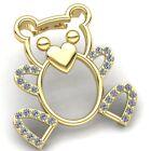 Genuine 0.2ct Round Cut Diamond Kids Teddy Bear Pendant 10K Gold
