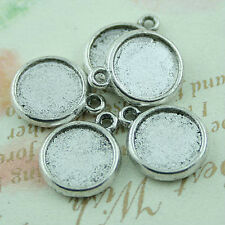 20pcs Tibetan silver crafted flat round charms H1264