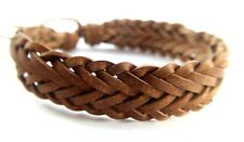 LEATHER BROWN BRACELETS WRISTBAND BRAIDED CUFF WOVEN  HIPPIE ADJUSTABLE MENS NEW