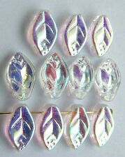 Leaf H 12 mm Clear Crystal AB 03000-28701 Czech Glass Bead Charm x 25