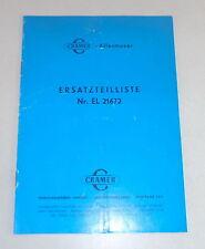 Teilekatalog / Ersatzteilliste Cramer Allesmuser Modell A / B / E Stand 01/1969