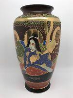 "Vintage 9"" Japanese Satsuma Moriage Vase, Japan, Hand-Painted (RF-FR8)"