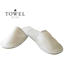 Towel City Unisex Adults Textured Waffle Slip On Closed Toe Slippers Hotel Style