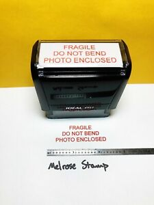 Fragile Do Not Bend Photo Enclosed Rubber Stamp Red Ink Ideal 4913