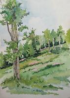 Vintage impressionist watercolor painting landscape trees forest