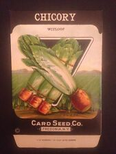 1930-40s Litho Antique Vintage Seed Packet Chicory Witloof Card Seed Co. Pack Ex