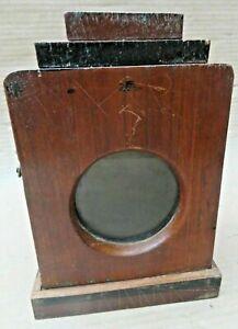 Antique Wood Mini Cabinet Display showcase distressed original round glass
