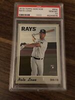 2019 Topps Heritage #604 Nate Lowe RC PSA 10 GEM MINT RC Tampa Bay Rays