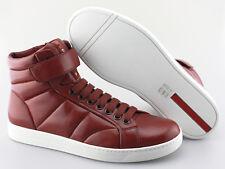 Men's PRADA 'Hi-Top' Red Leather Sneakers Size US 10.5 PRADA 9.5