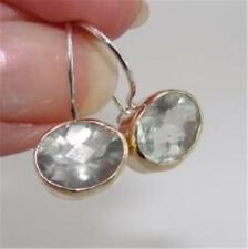 Hadar Designers 9k Yellow Gold Sterling Silver Green Amethyst Earrings (I e384)
