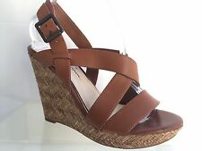 "Jessica Simpson Size 8.5 Brown Woven 5"" Inch Heel Wedge Platform Sandals Shoes"