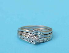 Round Cluster Diamond Wedding Set w/ 43 Genuine Diamonds - 10k White Gold