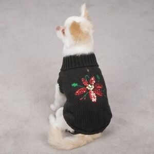 Poinsettia DOG Puppy Sweater Holiday Christmas Sequin Sparkling  Misc Sizes