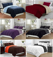 REVERSIBLE COMFORTER MICROFIBER 1 PIECE 12 DIFFERENT COLORS ALL SIZES BRAND NEW