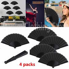 Lot of 4 Black Handheld Folding Fan Chinese Fan Oriental Cloth Fabric Dancing