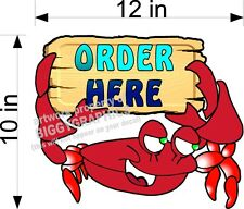 "ORDER HERE SEAFOOD CRAB SIGN DECAL 12"" X 10""  FULL COLOR GRAPHIC NEW!"