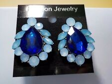 New  Light blue and dark blue crystal  Drop Fashion Earrings Approx 3 cm long