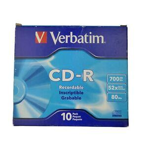 Verbatim CD-R Discs 700MB 80min 52x with Slim Jewel Cases 10 Pack New