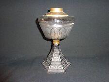 Unique 19th.c Antique Cast Iron & Pressed Glass Fluid Oil Lamp Base