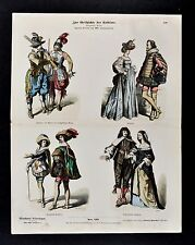 1880 Braun Costume Print 17th German Dress Oberreute Musketeers Germany Fashion